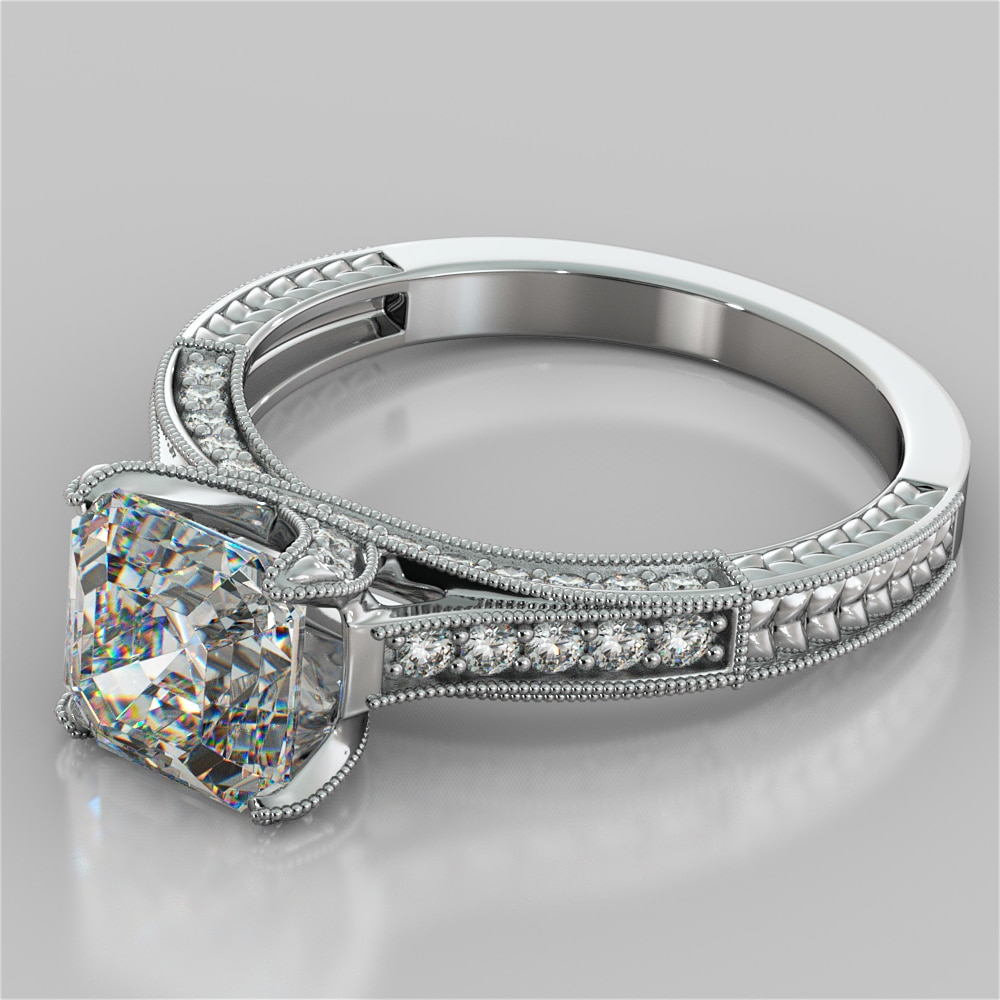 2 50ct Round Cut Vintage Style Engagement Ring In 14k White Gold